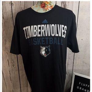 Minnesota Timberwolves Adidas Black T-shirt Large